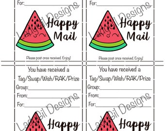 Happy Mail Swap Insert Tag/Swap/Wish/RAK/Prize  Digital Download