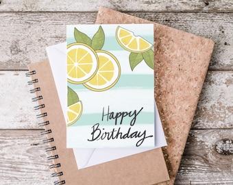 Digital Birthday Card / Print at Home Birthday Card / Lemon Birthday Card
