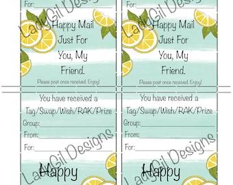 Happy Mail Swap Insert / Tag Insert / Wish / RAK / Prize / Lemon tag insert / Digital Download