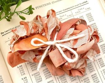 Hand painted ribbon, Fall ribbon, Crinkle Ribbon, Autumn Ribbon, Craft ribbon, Ribbon variety pack,  3 yd seam binding, journal supply