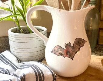 Halloween Bat, Bat Waterslide Decal, Clear Laser Print Decal, Watercolor Bat Decal, Vintage Style Bat, Halloween Decor, Farmhouse Style Bat