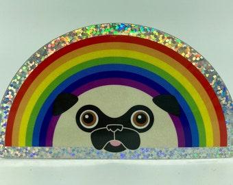 Pug Rainbow Holographic Glittery Sticker