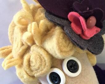 Mimosa a wool rag doll
