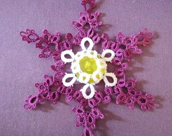 Healing Flake - Snowflake Motif and Ice Drop Version included - For shuttle or Needle Tatting - Go Fund Me