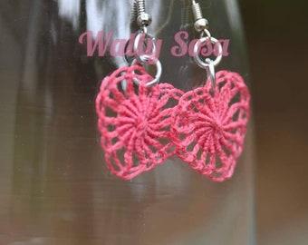 Heart Earrings Soles de Naranjito, Teneriffe Lace