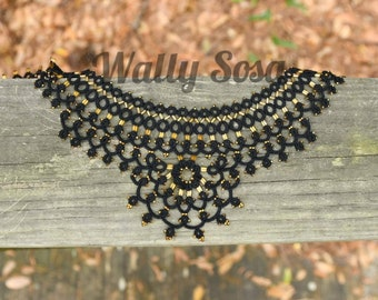 Black Tatting Lace collar with glass gold colored bead and bugles, long ties-on, for formal or elegant events