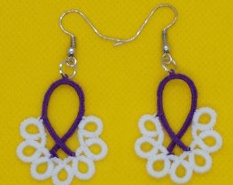 Tatting Lace Awareness Ribbon earrings