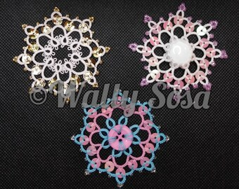 Tatting Lace Starbright Ornaments: One Design with 3 Variations, Holiday Ornament Card Ornament Christmas Decoration Xmas Decor