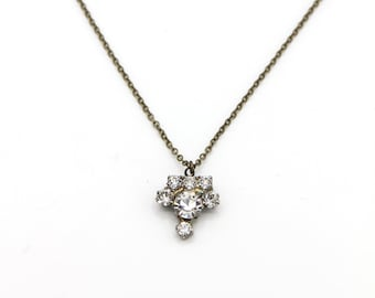 Vintage Charm Necklace - Rhinestone Drop