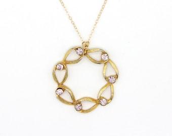 Pinky- Vintage Gold Tone Pink Rhinestone Necklace