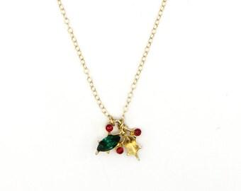 Fa La La - Vintage Rhinestone Holly Pin Necklace