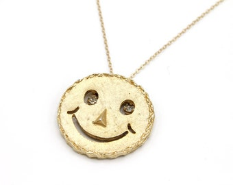 Have A Nice Day - LONG Vintage Happy Face Necklace