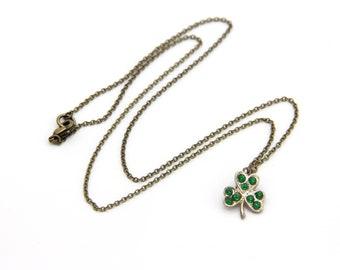 Vintage Charm Necklace - 3 Leaf Clover