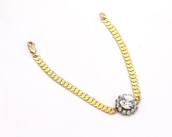 Vintage Rhinestone & Chain Bracelet