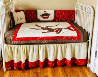 Sock Monkey Crib Bedding Etsy