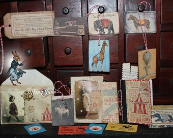 3 Ring Circus, Papier Set by TiffanyJane, vintage style keepsakes, paper art, gifts, scrapbooking, little works of art