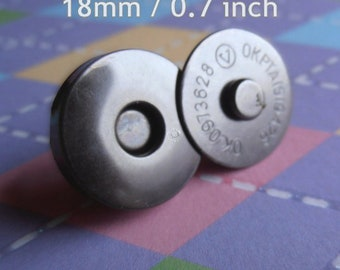18 mm / 0.7 inch Magnetic Snap Closures (4 mm thick) - available in gun metal, antique brass, and nickel (5, 15, or 30 sets)