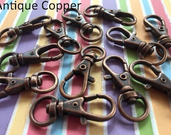 Lobster Swivel Clasps - 1.3 inch / 34 mm - available in antique copper, nickel, and antique brass finish (240, 595, or 1500 pieces)