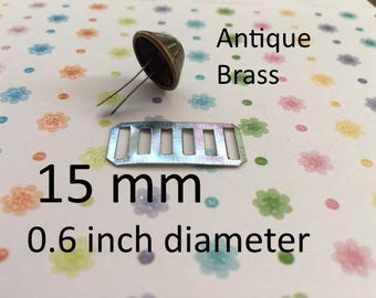 15mm / 0.6 inch Diameter Rust Proof Bucket Shaped Purse Feet with Washers (Antique Brass, Nickel) - 4, 16, 40, or 100 sets