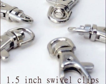 Lobster Swivel Clasps - 1.5 inch / 39mm - available in  nickel, antique brass, gun metal, and antique copper finish (5, 15, or 40 pieces)
