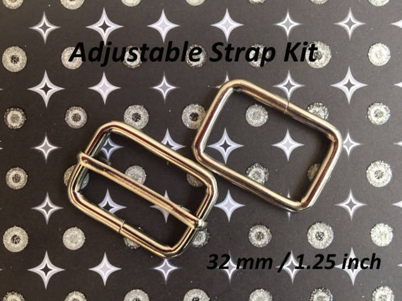1.25 Inch  32mm Width in Nickel finish 100 Sets Adjustable Strap Kit with slide and rectangle ring