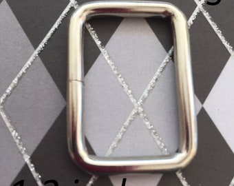 1.3 Inch / 33 mm Metal Wire-Formed Rectangle Rings in Nickel (5, 15, or 30 pieces)