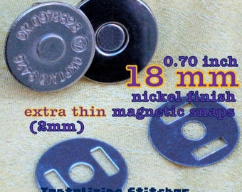 18mm Extra Thin Magnetic Snap Closures - 2mm slim (nickel and antique brass finish) - 100, 240, 600, or 1500 sets