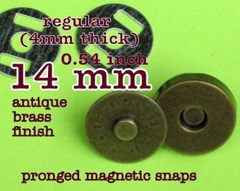 14 mm / 0.6 Inch Regular Thickness Magnetic Snap Closures (available in antique brass, and nickel) - 5, 15, or 30 sets