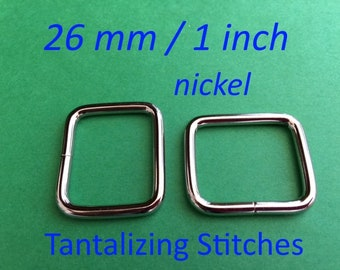 Wire-Formed Rectangle Rings (1 inch / 26 mm) - available in nickel and antique brass finish (5, 15, or 30 pieces)