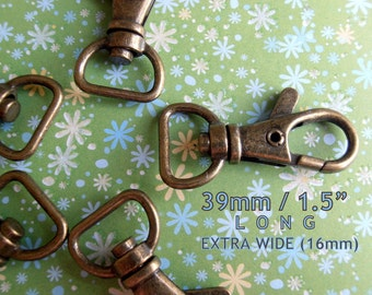 1.5 inch long / 0.5 inch webbing capable Lobster Swivel Clasps - (antique brass and nickel finish) - 2, 5, 15, or 40 pieces