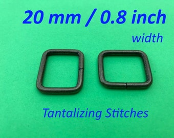 Rectangle Ring 0.8 inch / 20 mm Width - available in antique brass and nickel finish (5, 15, or 30 pieces)
