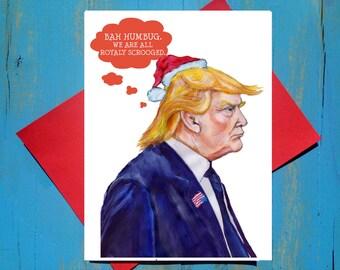 Bah Humbug Trump greeting card