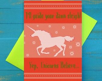 I'll guide your damn sleigh christmas greeting card