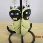 Siamese Cats kitten dangle earrings hand painted whimsy