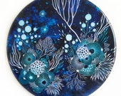 Resin covered print on round panel, Moonlight
