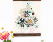 Wall Art - Hanging Canvas Art Print - Inspired by Vintage Botanical Charts and Vintage Science Posters, Fine Art Print, Art Poster - Fling
