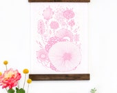 Wall Art - Hanging Canvas Art Print - Inspired by Vintage Botanical Charts and Vintage Science Posters, Fine Art Print, Art Poster - Pink