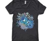 Womens T Shirt - Bloom - Heather Black American Apparel