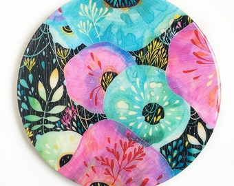 Resin covered print on round panel, Crush