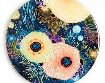 Resin covered print on round panel, Burgeon