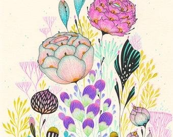 Art Print, Botanical Art Print, Wall Art, Giclee Print, Floral Print - Comely