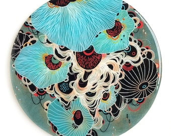 Resin covered print on round panel, Deluge