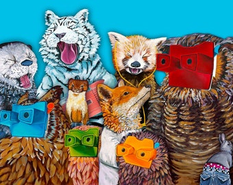 DIGITAL DOWNLOAD FILE - All Stars -A digital Print Collage of my Collected Animals made from my Original Paintings