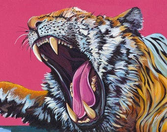 Digital Download Print of Original Artwork Tiger with Alarm Clock and small owl on Pink Acrylic on Canvas