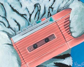 Digital Download : Print of Original Artwork White Tiger with Vintage Pink Portable Radio Cassette Player on Blue in Oval