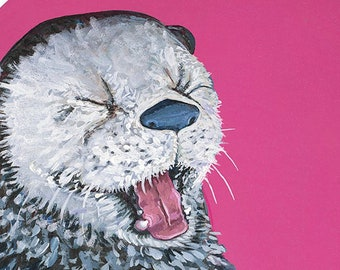 Digital Download Print of Original Artwork Otter with Vintage Children's record Player toy on pink in Oval