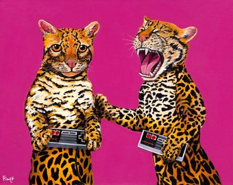 DIGITAL DOWNLOAD FILE - 2 Ocelots playing with Vintage Video Game Controllers -Made from my Original Acrylic Painting