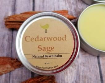 Cedarwood Beard Balm, Sage Beard Balm, Mustache Wax, Beard Care, Facial Hair Grooming, Beard Conditioner, Natural Body Care, Gift for Him