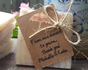 Custom shower soap favors for Natalie