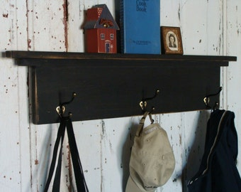 Entryway, Coat Hook Shelf, Storage Shelf With Hooks, Mudroom Shelf,  Farmhouse Modern, Black Custom